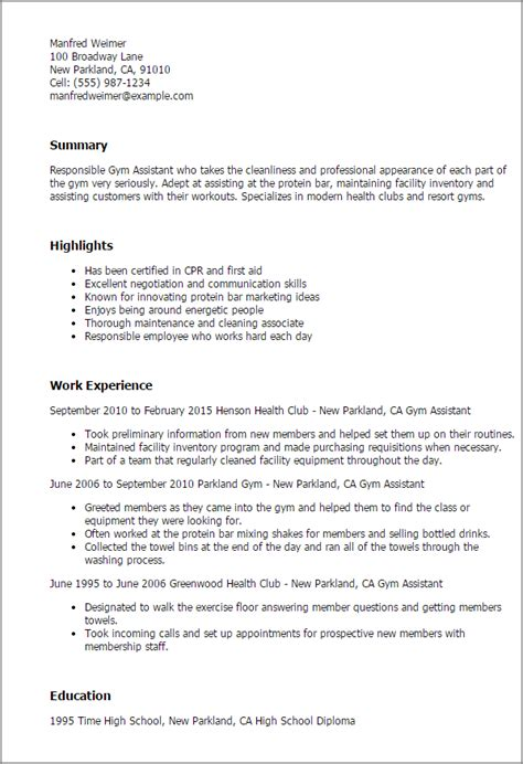 professional gym assistant templates to showcase your
