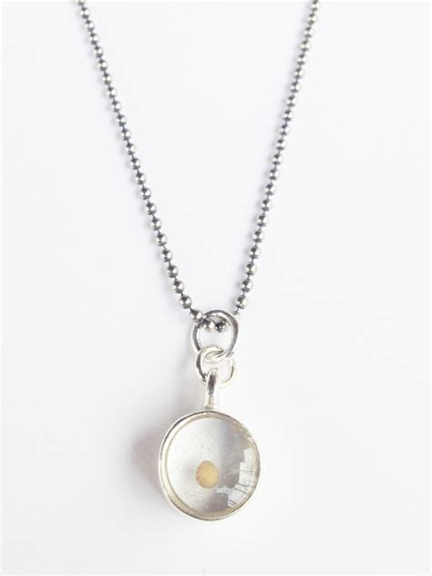 Medium Mustard Seed Charm Necklace In Sterling By