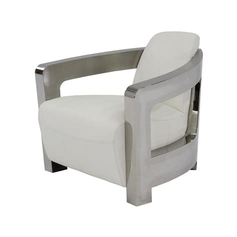 White Leather Accent Chair by Aviator White Leather Accent Chair El Dorado Furniture
