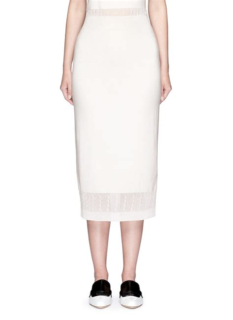 white knit pencil skirt beckham cable knit trim pencil skirt in white lyst