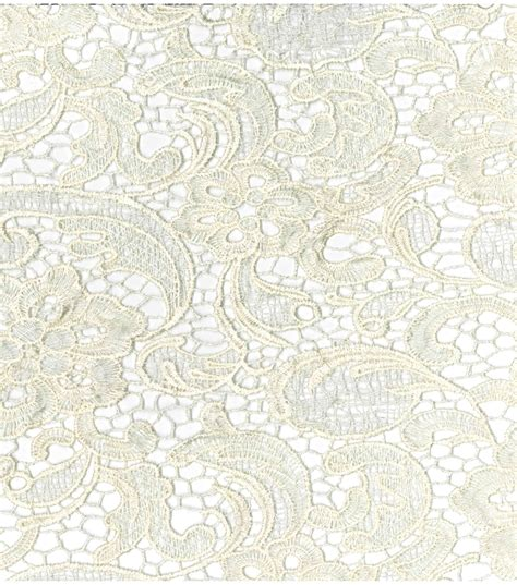 Joann Fabrics Home Decor bridal collections embroidered heavy lace ivory fabric