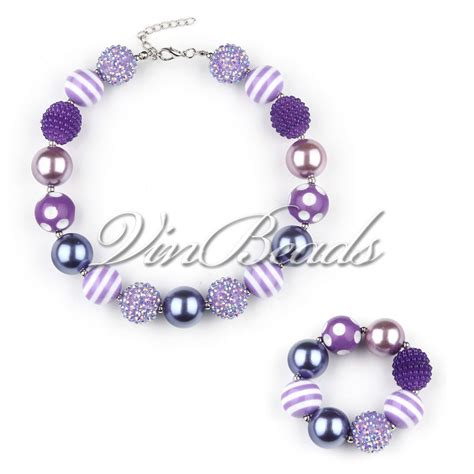 gumball necklace purple color chunky bubblegum gumball necklace