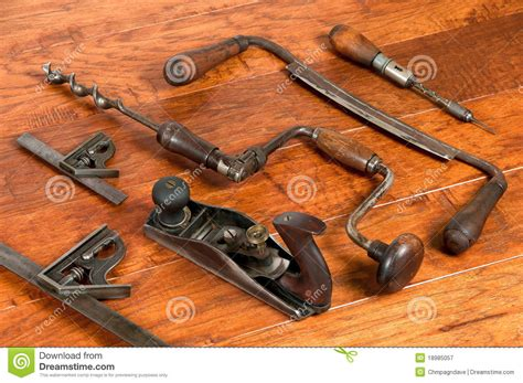 woodworking photos antique tools in arrangement on wood background royalty