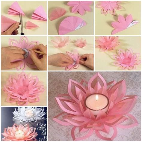 diy crafts with paper creative diy paper lotus candlestick project included