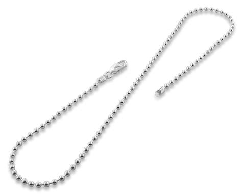 sterling silver bead chain sterling silver 24 quot bead chain necklace 3 0mm
