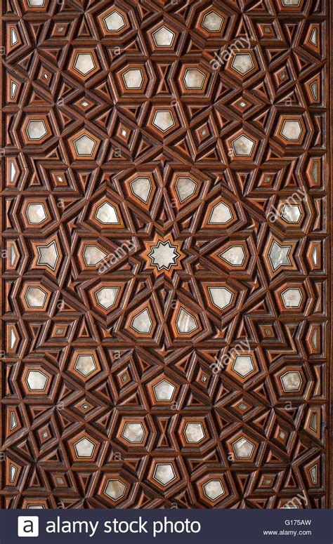 islamic woodwork islamic pattern wooden engraving stock photo royalty free
