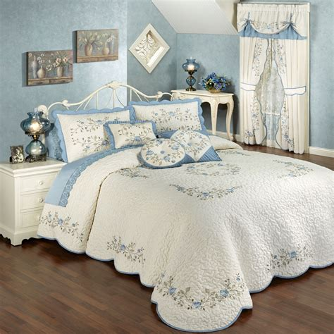 bed spreads for vintage charm embroidered quilted bedspread bedding