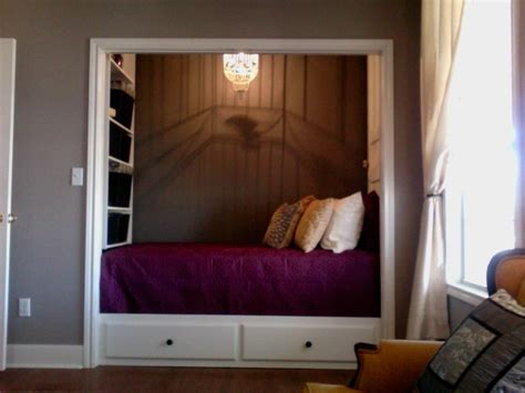 bed in closet captain s style bed in the closet storage shelves and