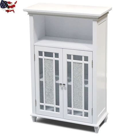 White Bathroom Floor Storage Cabinet by Floor Cabinet Storage Bathroom Kitchen Glass Doors