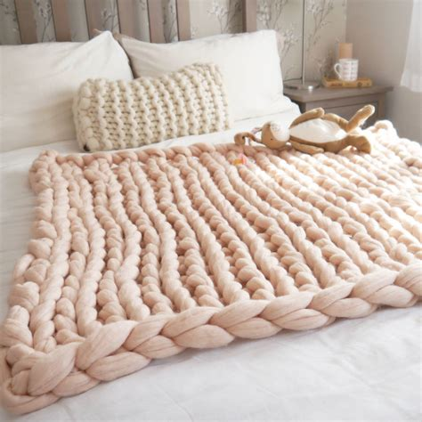 how to knit chunky blanket arm knitted chunky blanket throw merino wool yarn