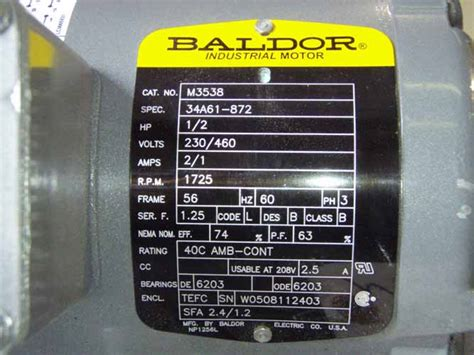 Electric Motor Information by The Gearbox Guys 187 00682 Baldor Electric Motor