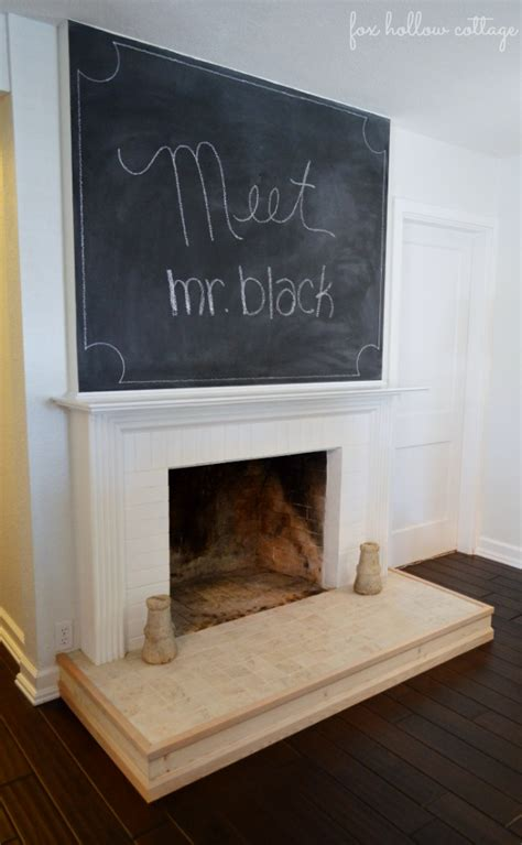 diy chalkboard fireplace diy fireplace mantel and hearth makeover fox hollow cottage