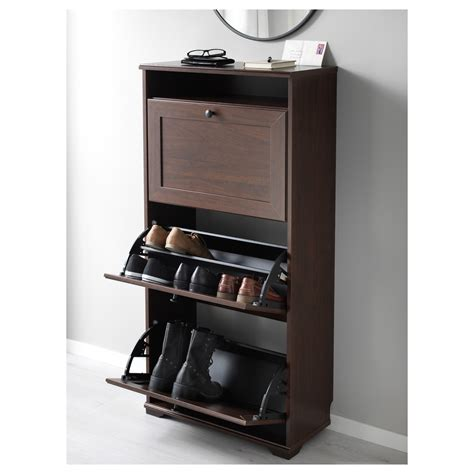 brusali cabinet brusali shoe cabinet with 3 compartments brown 61x130 cm