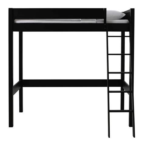 black loft bed black wooden loft bed 90 x 190 cm newport maisons du monde