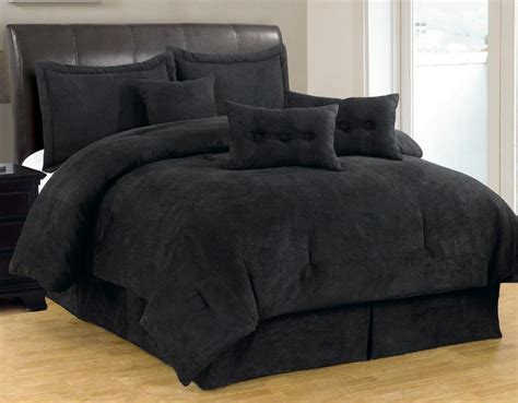 black comforter sets 7 pc solid black micro suede comforter set size new