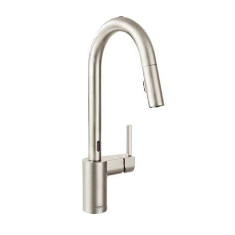 motionsense kitchen faucet moen 7565esrs align one handle high arc motionsense pulldown kitchen faucet spot resist
