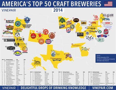 top crafts map the top 50 u s craft breweries in 2014 vinepair