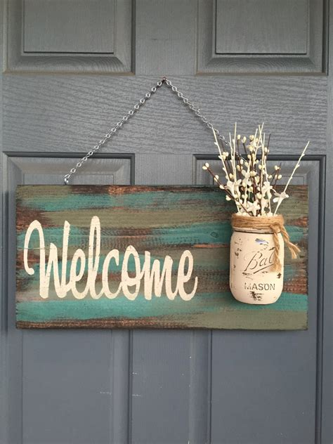 wooden signs home decor rustic blue green welcome outdoor decor signs home by