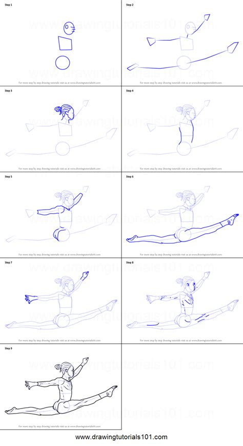 step by step how to draw a gymnast printable step by step drawing sheet