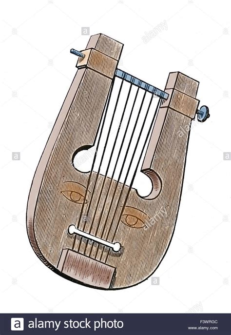ancient musical instrument lyre engraving 19th