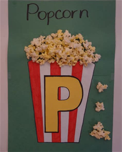 popcorn crafts for letter p popcorn craft all network