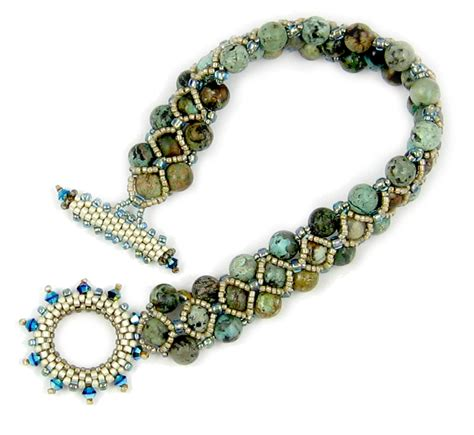 beaded toggle clasp turquoise toggle beaded bracelet instant pattern
