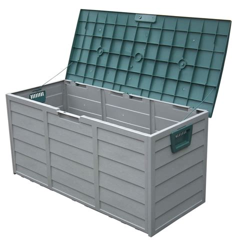 plastic patio storage boxes garden outdoor plastic storage box chest shed cushion with wheels lid grn ebay