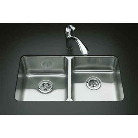 kohler stainless kitchen sink shop kohler undertone stainless steel basin drop in