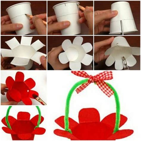 paper cup craft ideas how to make paper cup basket step by step diy tutorial
