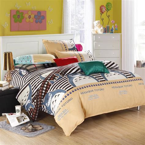size bed linen sets 2015 new 4 colors totoro bedding sets bed linen