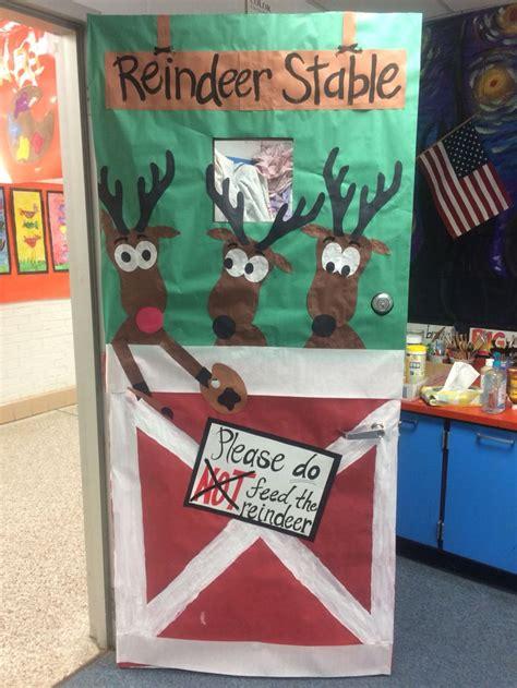 reindeer stable classroom door decoration reindeer stable