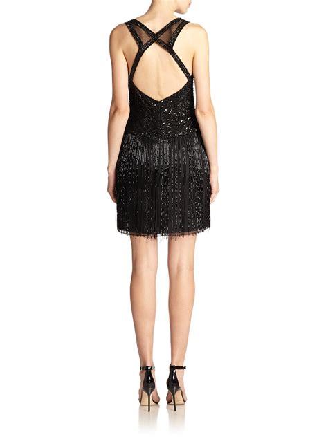 black beaded dress basix black label beaded fringe dress in black lyst
