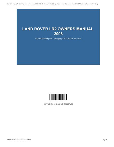 land rover lr2 owners manual 2008 by sandrawest1680 issuu