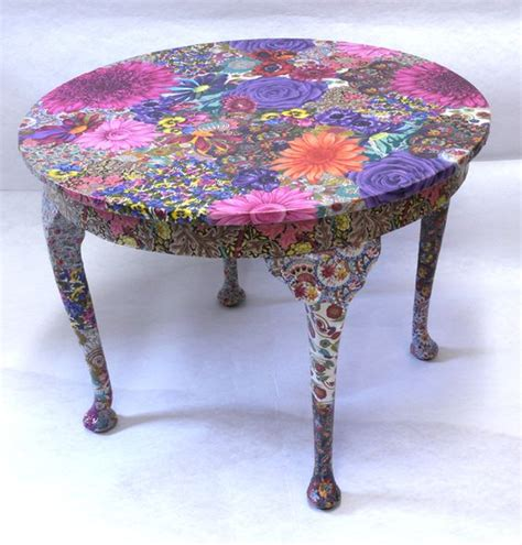 table decoupage ideas flora table fabric decoupage project crafts