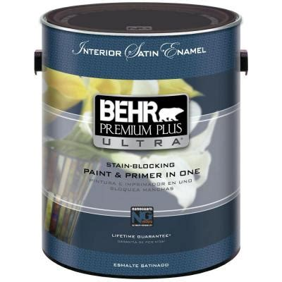 home depot paint no primer behr premium plus ultra 1 gal ultra white satin