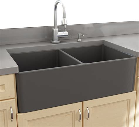 gray kitchen sink nantucket sinks 33 bowl gray fireclay farmhouse