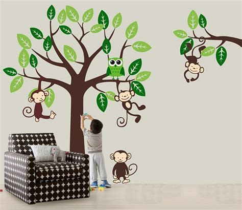 tree branch wall decal nursery vinyl wall decal nursery jungle tree wall decals monkey
