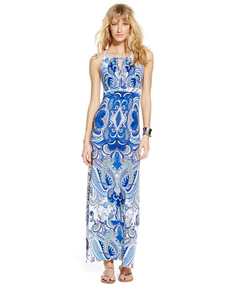 beaded halter maxi dress inc international concepts printed beaded halter maxi