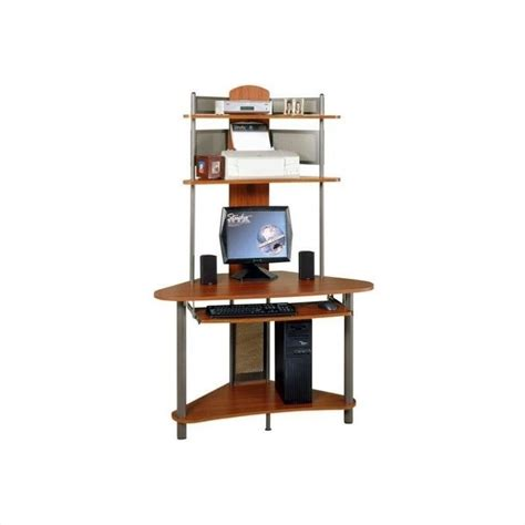 tower computer desk studio rta a tower corner wood w hutch pewter cherry