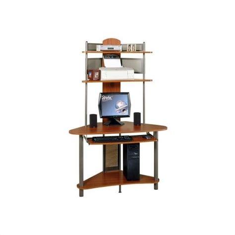 computer tower desk studio rta a tower corner wood w hutch pewter cherry