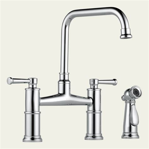 2 kitchen faucet 62525lf brizo two handle bridge kitchen faucet with spray 62525lf focal point hardware