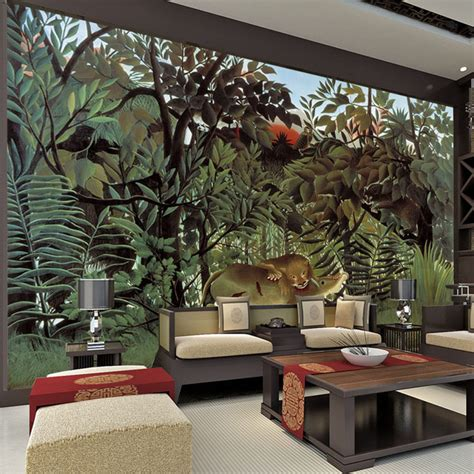 wall mural from photo rousseau jungle painting wallpaper custom 3d wall murals