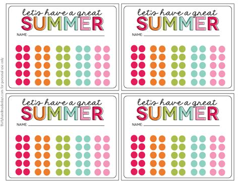 punches for card activities summer punch cards