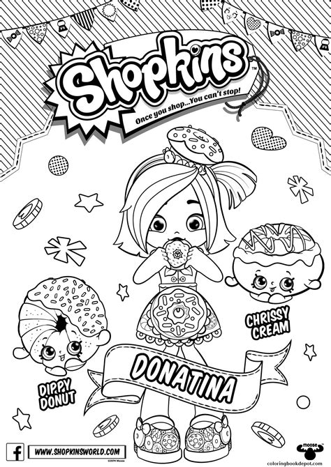 shopkins doll chef club colouring page donatina shoppies