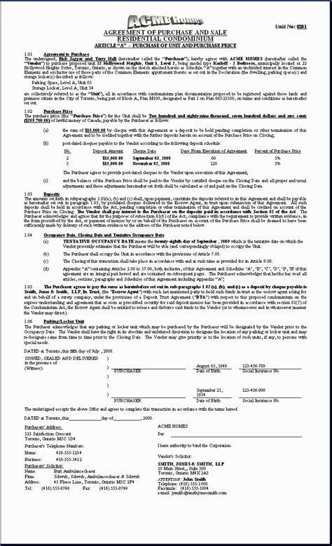 purchase agreement template free printable documents