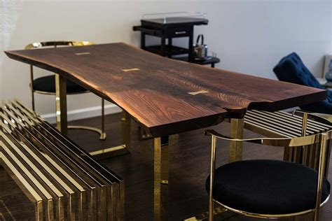 slab dining table live edge wood slab tables and furniture re co bklyn