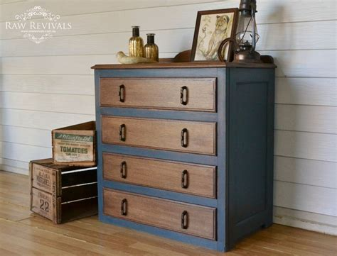 chalk paint navy blue restored antique 1920s chest of drawers painted in navy
