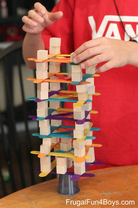 4 Engineering Challenges For Cups Craft Sticks And