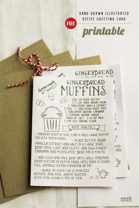 free card printables free printable illustrated recipe