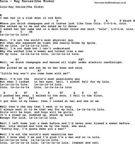 the kinks picture book lyrics song lola by davies the kinks song lyric for vocal